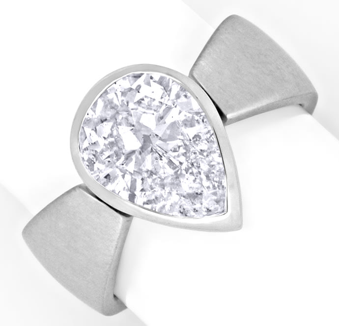 Foto 2, Tropfen Diamant 2,30ct in 18K Weissgold Ring Handarbeit, R1442