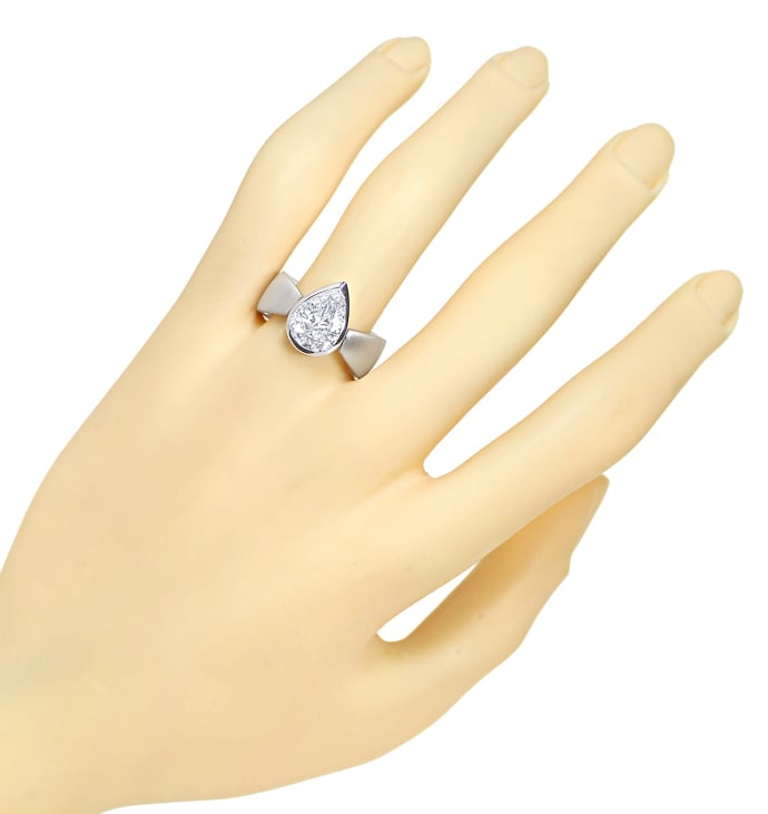 Foto 4, Tropfen Diamant 2,30ct in 18K Weissgold Ring Handarbeit, R1442