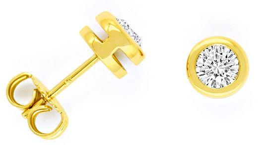 Foto 1, 0,68ct Diamant Ohrstecker Brillantohrringe 18K Gelbgold, R1490