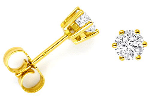 Foto 1, 0,72ct Diamantenohrstecker 18K Gold Brillanten Ohrringe, R1493