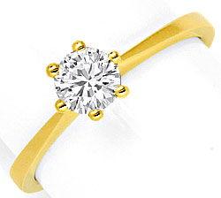 Foto 1, Halbkaräter Brilliant Ring Gelbgold Krappen Diamantring, R1495