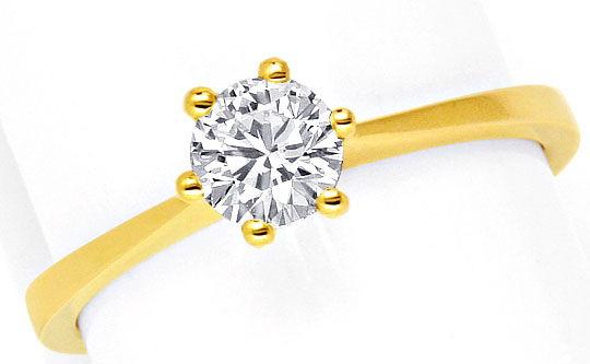 Foto 2, Halbkaräter Brilliant Ring Gelbgold Krappen Diamantring, R1495