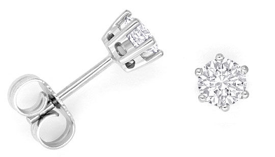Foto 1, Diamanten Ohrstecker 0,70 Brillanten Ohrringe Weissgold, R1499