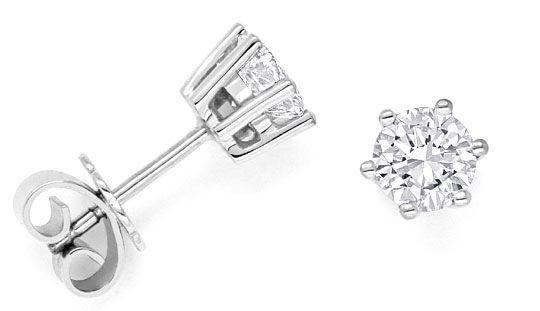 Foto 1, Diamant Krappen Ohrstecker 1,04 ct Brillanten Weissgold, R1500