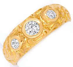 Foto 1, Altschliff Bandring Rotgold 0,42ct Altschliff Diamanten, R1507