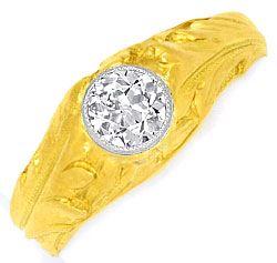 Foto 1, Altschliff 0,46ct Diamantring massiv Gelbgold Weissgold, R1508