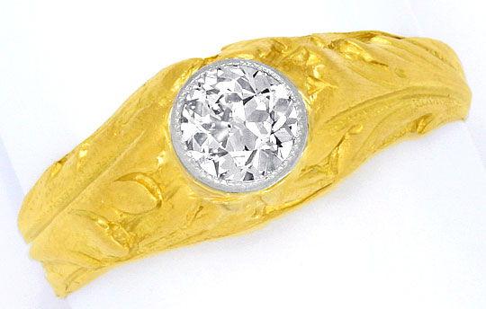 Foto 2, Altschliff 0,46ct Diamantring massiv Gelbgold Weissgold, R1508