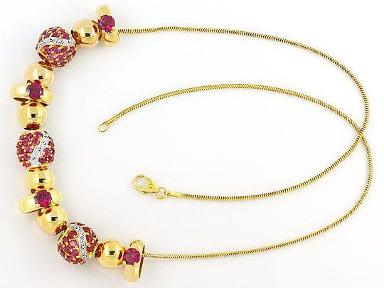 Foto 1, Goldkollier 24 Diamanten und Rote Farbsteine Edelsteine, R1543