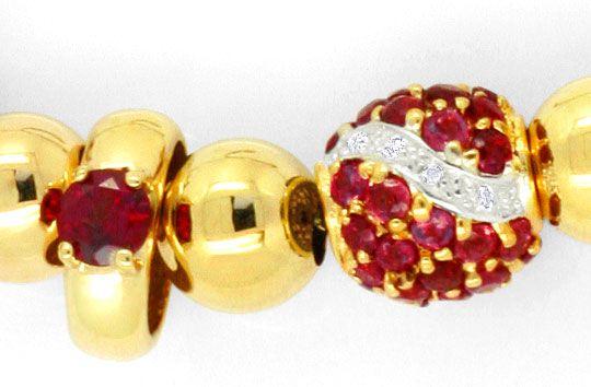 Foto 2, Goldkollier 24 Diamanten und Rote Farbsteine Edelsteine, R1543