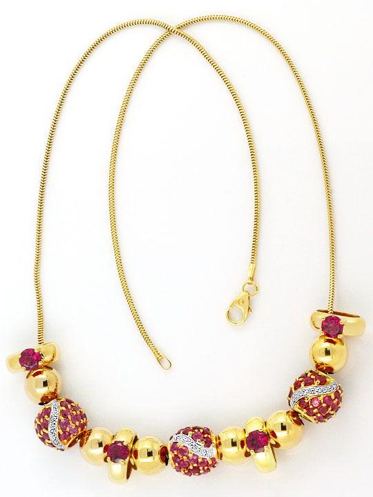 Foto 3, Goldkollier 24 Diamanten und Rote Farbsteine Edelsteine, R1543