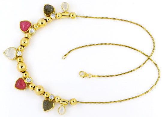 Foto 1, Kollier Herz und Tropfen Edelsteine Goldkugeln Gelbgold, R1545