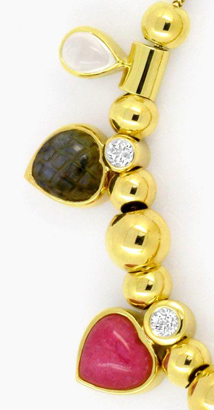 Foto 2, Kollier Herz und Tropfen Edelsteine Goldkugeln Gelbgold, R1545