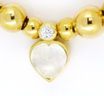 Foto 3, Kollier Herz und Tropfen Edelsteine Goldkugeln Gelbgold, R1545