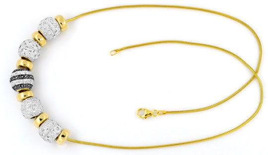 Foto 1, Kollier Goldkugeln 200 Stück Weisse, Schwarze Diamanten, R1639