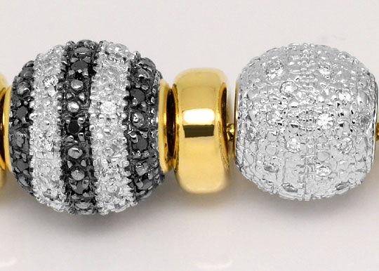 Foto 2, Kollier Goldkugeln 200 Stück Weisse, Schwarze Diamanten, R1639