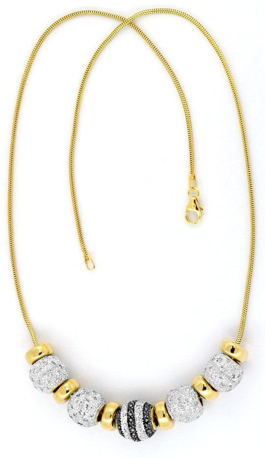 Foto 3, Kollier Goldkugeln 200 Stück Weisse, Schwarze Diamanten, R1639