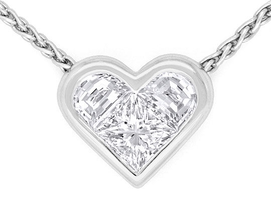 Foto 2, Bulgari Bvlgari Kollier Diamant Princess Half Moon Herz, R1730