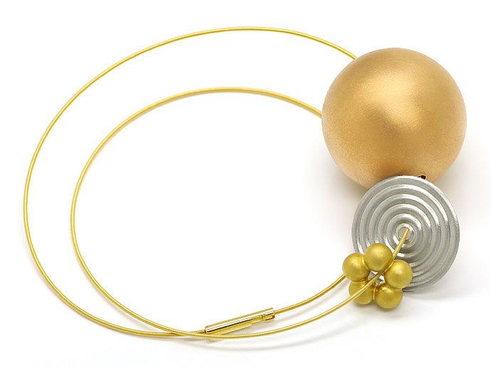 Foto 1, Niessing Kollier mit Kugel Scheibe Blume in Gold Platin, R1766
