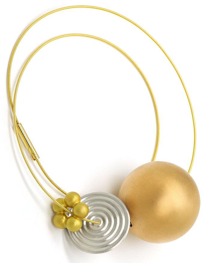 Foto 5, Niessing Kollier mit Kugel Scheibe Blume in Gold Platin, R1766