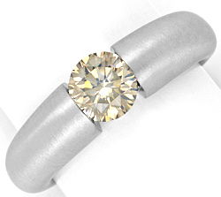 Foto 1, Einkaraeter Brillant Diamant Spannring massiv Weissgold, R1771