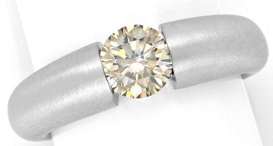 Foto 2, Einkaraeter Brillant Diamant Spannring massiv Weissgold, R1771