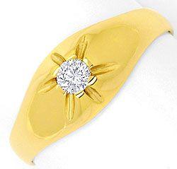 Foto 1, Brillant Diamant Krappen Bandring 0,15 Solitär Gelbgold, R1773