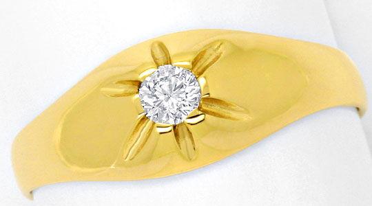 Foto 2, Brillant Diamant Krappen Bandring 0,15 Solitär Gelbgold, R1773