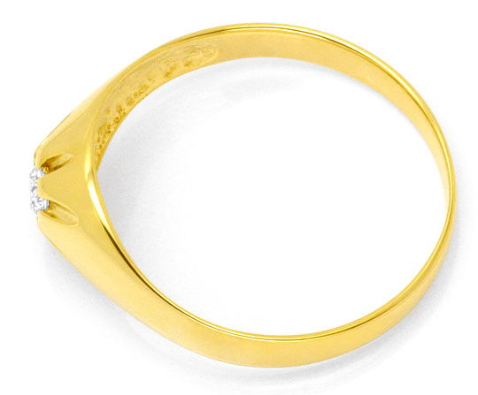 Foto 3, Brillant Diamant Krappen Bandring 0,15 Solitär Gelbgold, R1773