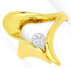Foto 1, Super Designer Brillant Diamant Ring Gelbgold Weissgold, R1774
