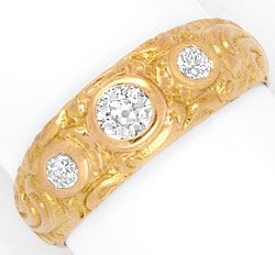 Foto 1, Alter Altschliff Diamant Ring massiv 0,39ct 18K Rotgold, R1776