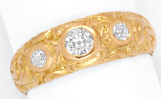 Foto 2, Alter Altschliff Diamant Ring massiv 0,39ct 18K Rotgold, R1776