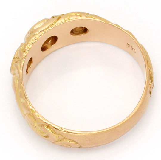 Foto 3, Alter Altschliff Diamant Ring massiv 0,39ct 18K Rotgold, R1776