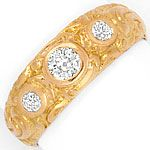 Alter Altschliff Diamant-Ring massiv 0,39ct 18K Rotgold