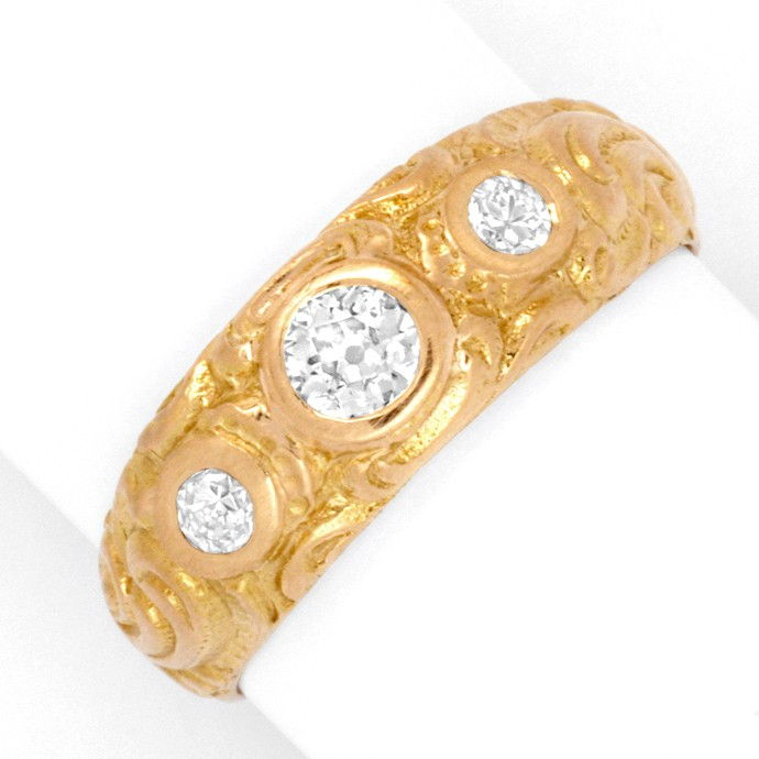 Alter Altschliff Diamant Ring massiv 0,39ct 18K Rotgold, Designer Ring