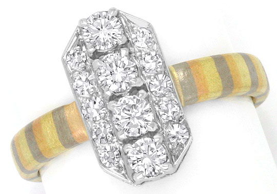 Foto 2, Brilliant Diamant Ring Platin Rotgold Gelbgold Graugold, R1779