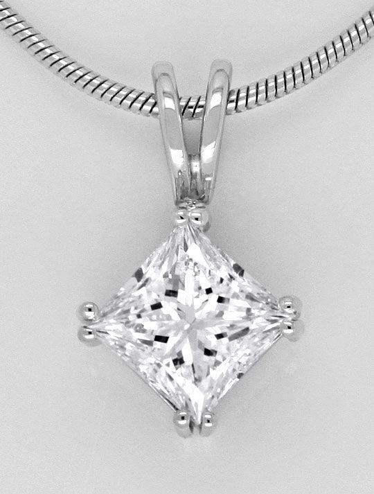 Foto 2, Princess Diamant Einkaräter Weissgold Kollier G SI1 GIA, R1781