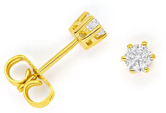 Foto 1, 1 Paar Brilliant Diamant Ohrstecker 0,33ct 18K Gelbgold, R1828
