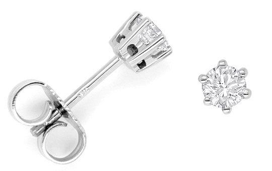 Foto 1, Paar Brillanten Diamant Ohrstecker 0,38ct 18K Weissgold, R1830
