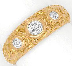 Foto 1, Massiver Rotgold Diamanten Ring 18K Rot Gold 0,41 Carat, R1832