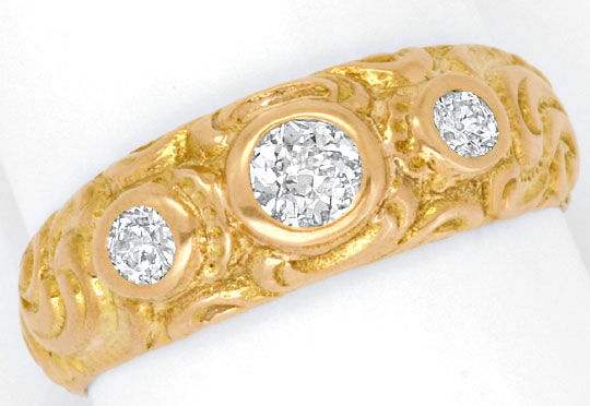 Foto 2, Massiver Rotgold Diamanten Ring 18K Rot Gold 0,41 Carat, R1832