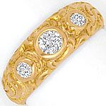 Massiver Rotgold Diamanten-Ring 18K Rot-Gold 0,41 Carat