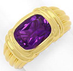 Foto 1, Original Bulgari Ring Spitzen Amethyst, massiv Gelbgold, R2059