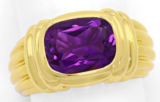 Foto 2, Original Bulgari Ring Spitzen Amethyst, massiv Gelbgold, R2059