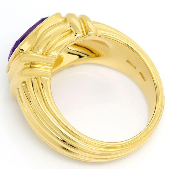 Foto 3, Original Bulgari Ring Spitzen Amethyst, massiv Gelbgold, R2059