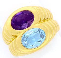 Foto 1, Original Bulgari Bvlgari Ring Topas Iolith 18K Gelbgold, R2060
