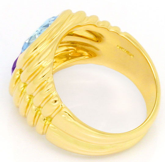 Foto 3, Original Bulgari Bvlgari Ring Topas Iolith 18K Gelbgold, R2060
