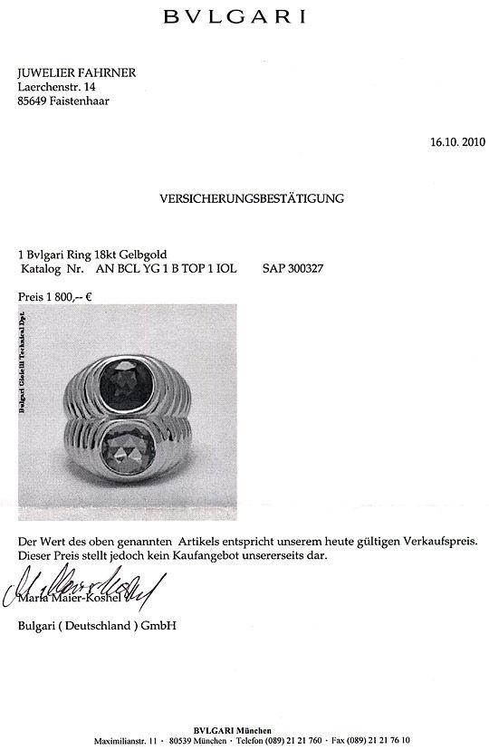 Foto 9, Original Bulgari Bvlgari Ring Topas Iolith 18K Gelbgold, R2060