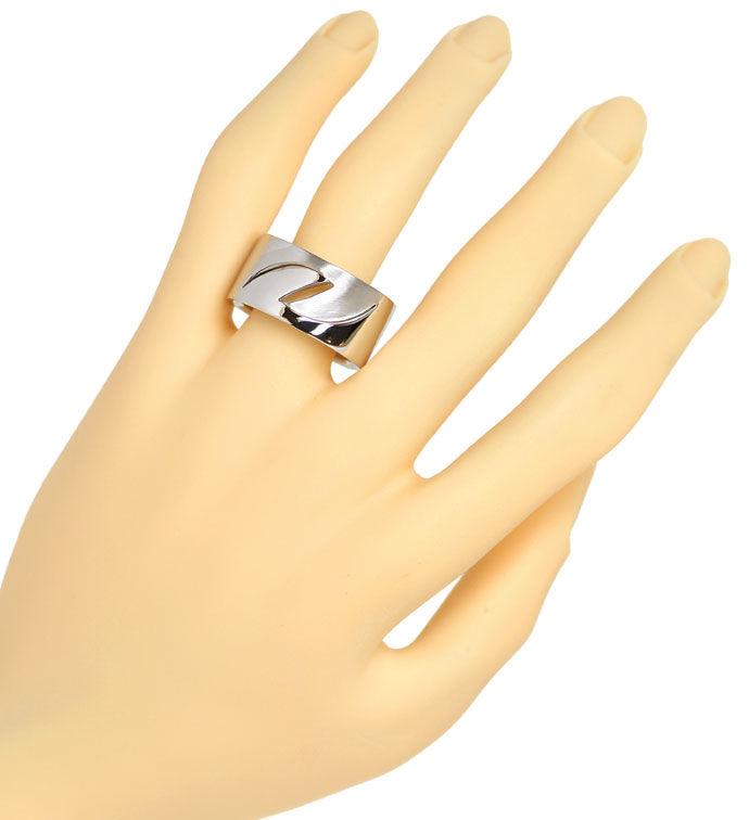 Foto 4, Niessing massiver Weißgold Ring durchbrochen mit Muster, R2376