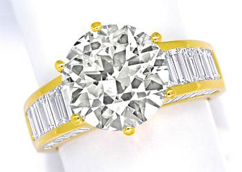 Foto 1, Ring 5,3ct Brillant Solitär und 2,38ct Diamantbaguetten, R2421