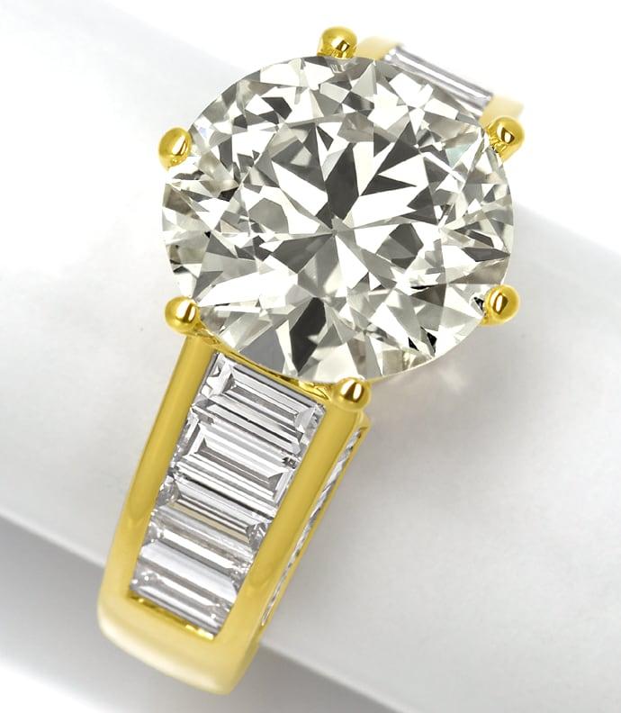 Foto 2, Ring 5,3ct Brillant Solitär und 2,38ct Diamantbaguetten, R2421